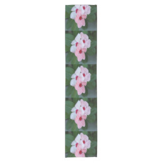 Blooming Beautiful Pink Impatiens Flowers Short Table Runner