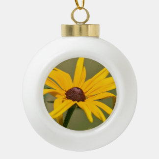 Blooming Black Eyed Susan Ceramic Ball Christmas Ornament