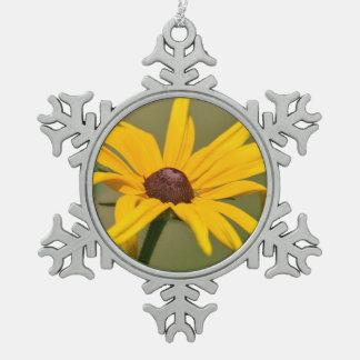 Blooming Black Eyed Susan Snowflake Pewter Christmas Ornament