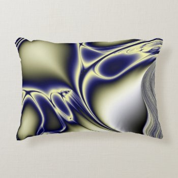 Blooming Blue Fractal Decorative Pillow