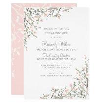 Blooming Blush Floral Wedding Bridal Shower Card