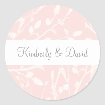 Blooming Blush Floral Wedding Classic Round Sticker