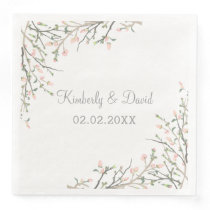 Blooming Blush Floral Wedding Paper Dinner Napkin