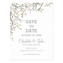 Blooming Blush Floral Wedding save the date Postcard