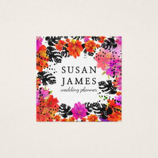 Blooming Bold Tropical Watercolor Modern Floral Square Business Card