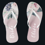 "Blooming botanical blush floral Personalized bride Flip Flops<br><div class=""desc"">Watercolor botanical floral and greenery in blush pink and navy,   elegant and romantic,   great personalized gifts for bride</div>"