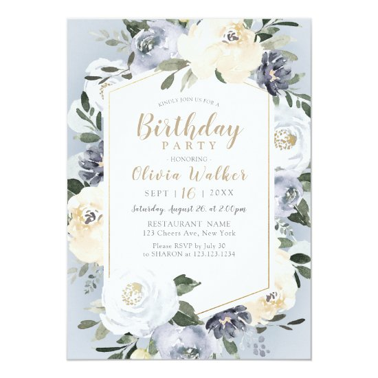 Blooming botanical dusty blue birthday Party Invitation