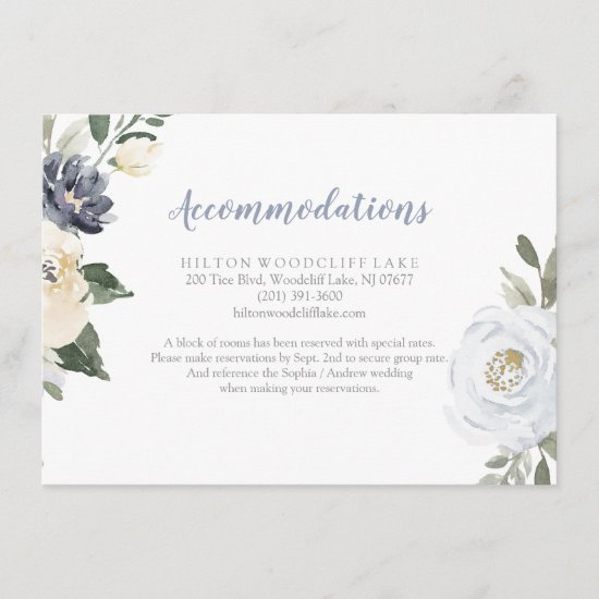 Blooming botanical dusty blue floral accommodation enclosure card