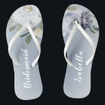 """Blooming botanical dusty blue floral bridesmaid flip flops<br><div class=""""desc"""">Watercolor botanical floral and greenery in soft yellow,  dusty blue,  and gray,  elegant and romantic,   great personalized bridesmaid gifts</div>"""
