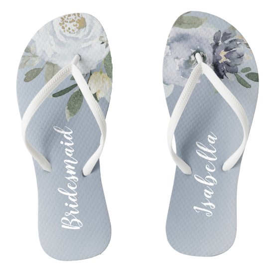 Blooming botanical dusty blue floral bridesmaid flip flops