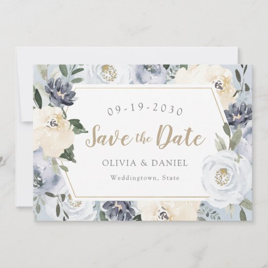 Blooming botanical dusty blue floral save the date