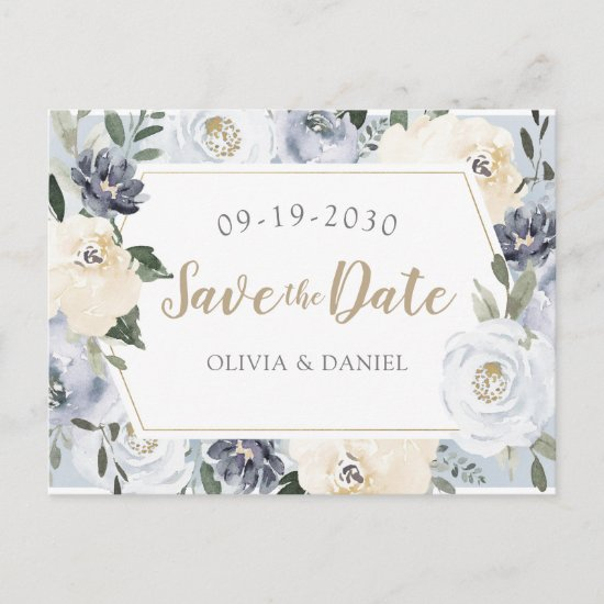 Blooming botanical dusty blue floral save the date announcement postcard
