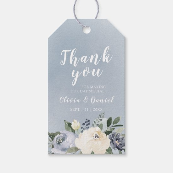 Blooming botanical dusty blue floral thank you gift tags