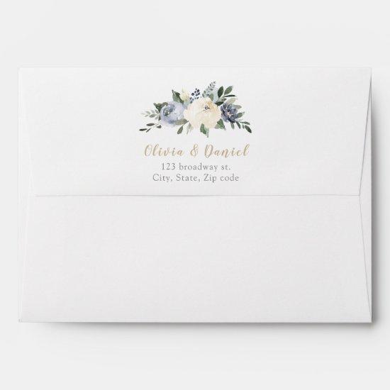 Blooming botanical dusty blue floral wedding envelope