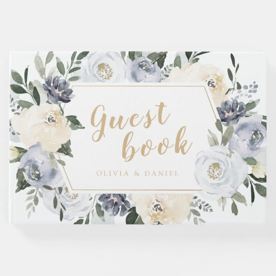 Blooming botanical dusty blue floral wedding guest book