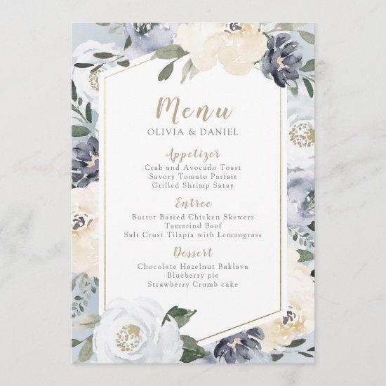 Blooming botanical dusty blue floral wedding menu