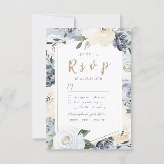 Blooming botanical dusty blue floral wedding RSVP card