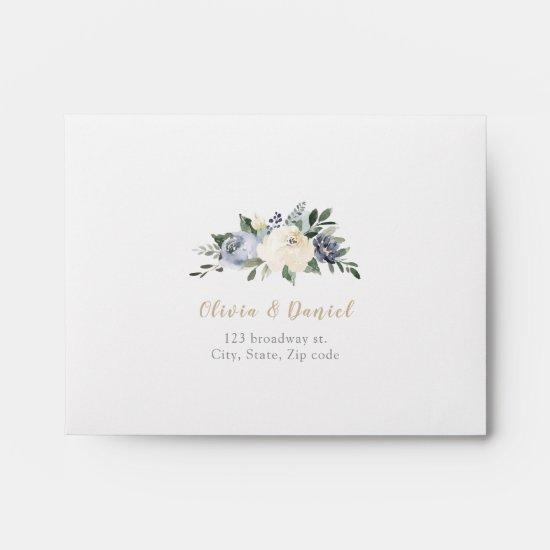 Blooming botanical dusty blue floral Wedding RSVP Envelope