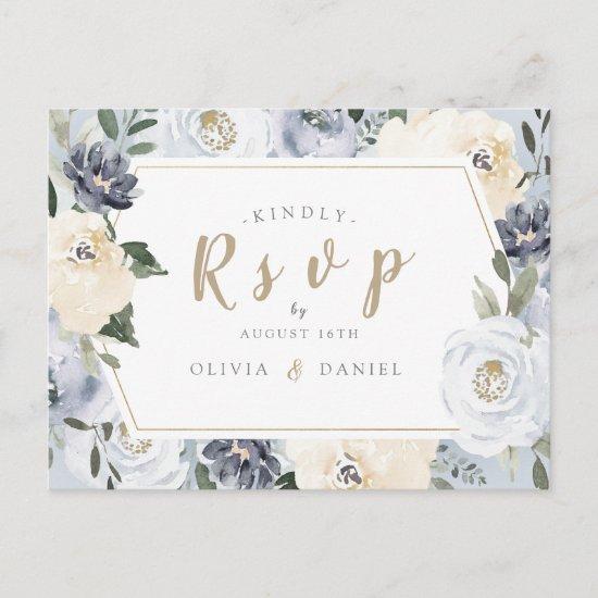Blooming botanical dusty blue floral wedding RSVP Invitation Postcard