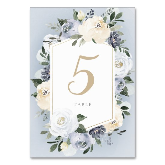Blooming botanical dusty blue floral wedding table number