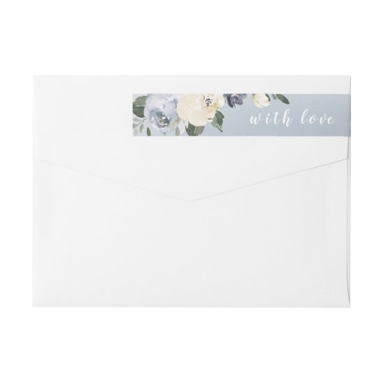 Blooming botanical dusty blue floral wedding wrap around label
