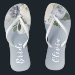 "Blooming botanical dusty blue personalized bride flip flops<br><div class=""desc"">Watercolor botanical floral and greenery in soft yellow,  dusty blue,  and gray,  elegant and romantic,   great personalized gifts for bride</div>"