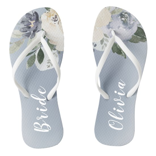 Blooming botanical dusty blue personalized bride flip flops