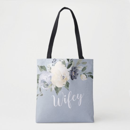 Blooming botanical dusty blue personalized wifey tote bag