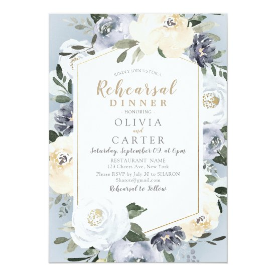 Blooming botanical dusty blue rehearsal dinner invitation