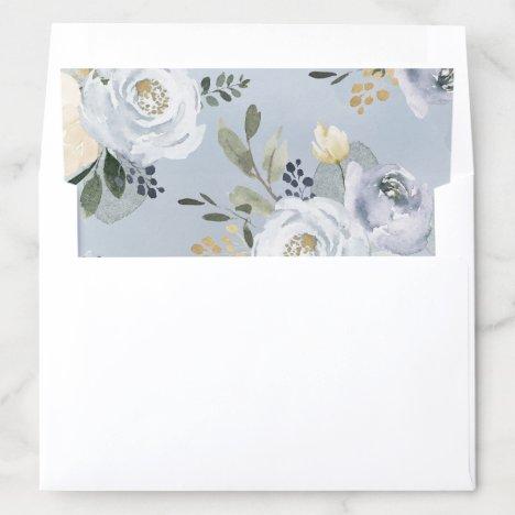 Blooming botanical dusty blue watercolor floral envelope liner