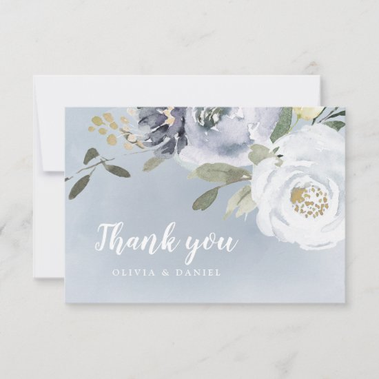 Blooming botanical dusty blue watercolor floral thank you card