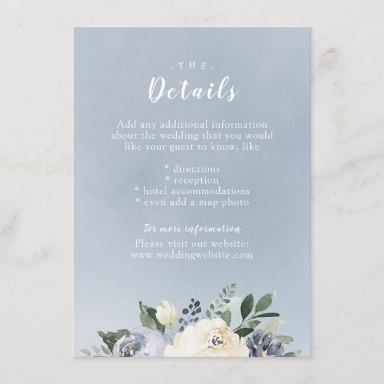 Blooming botanical dusty blue wedding insert card