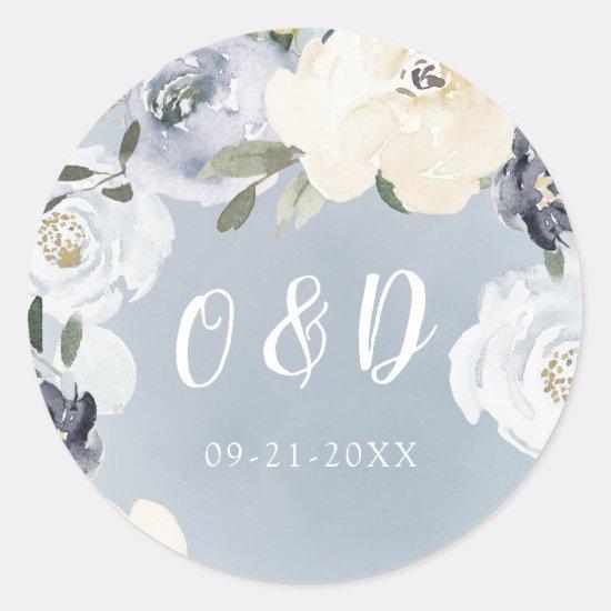 Blooming botanical dusty blue Wedding monogram Classic Round Sticker