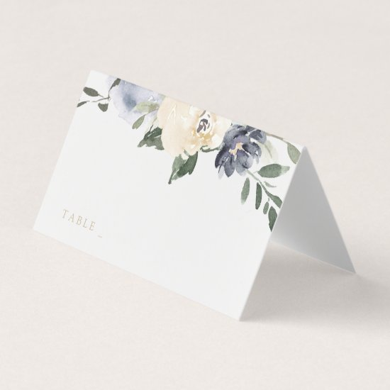 Blooming botanical dusty blue Wedding place cards