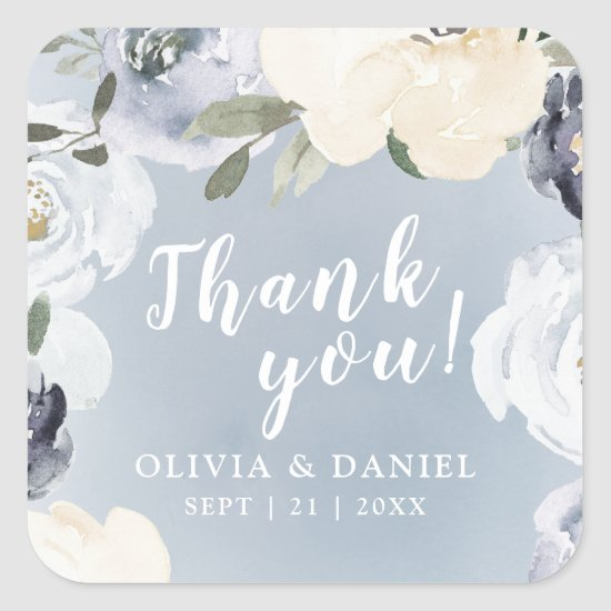 Blooming botanical dusty blue wedding thank you square sticker
