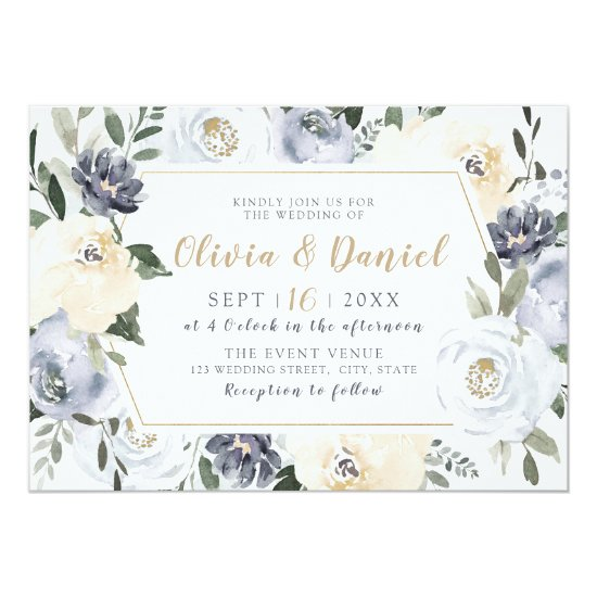 Blooming Botanical gray watercolor floral wedding Invitation