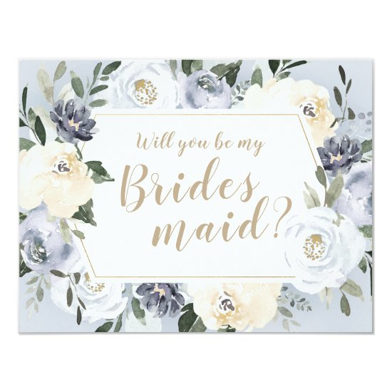 Blooming botanical gray Will you be my bridesmaid Invitation