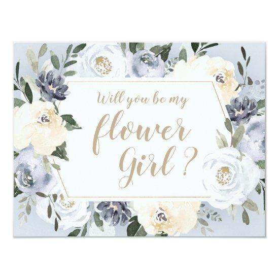 Blooming botanical gray Will you be my flower girl Invitation