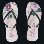 """Blooming botanical purple personalized bride flip flops<br><div class=""""desc"""">Watercolor botanical floral and greenery in blush,  peach and purple,  elegant and romantic,   great personalized gifts for bride</div>"""