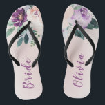 "Blooming botanical purple personalized bride flip flops<br><div class=""desc"">Watercolor botanical floral and greenery in blush,  peach and purple,  elegant and romantic,   great personalized gifts for bride</div>"