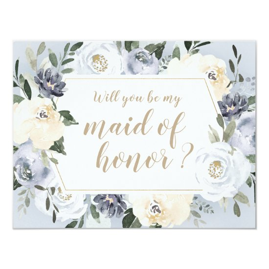 Blooming botanical Will you be my maid of honor Invitation
