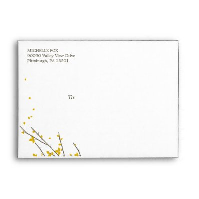 Blooming Branches Envelope - Mustard