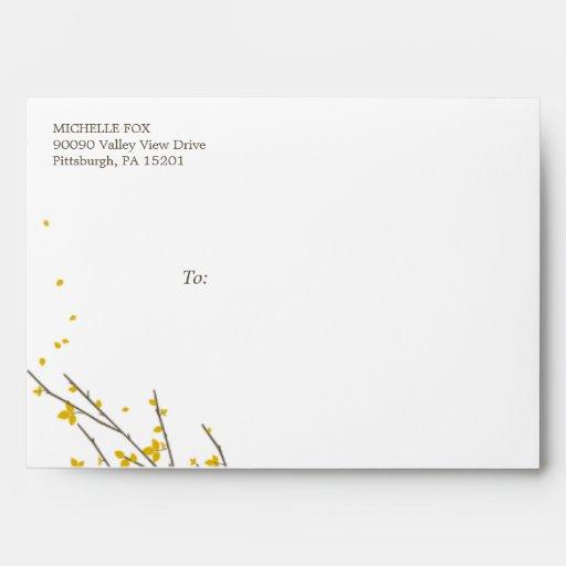 Blooming Branches Envelope - Mustard