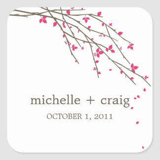 Blooming Branches Favor Stickers - Fuchsia