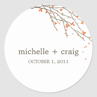 Blooming Branches Favor Stickers - Orange