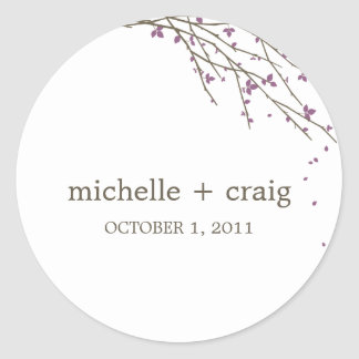 Blooming Branches Favor Stickers - Plum