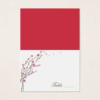 Blooming Branches Folded Place Cards - Cerise