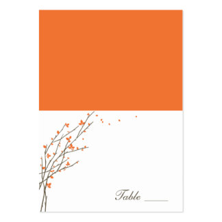 Blooming Branches Folded Place Cards - Orange Large Business Cards (Pack Of 100)