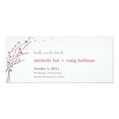 Blooming Branches Save The Date Card - Fuchsia