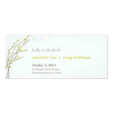 Blooming Branches Save The Date Card - Lime